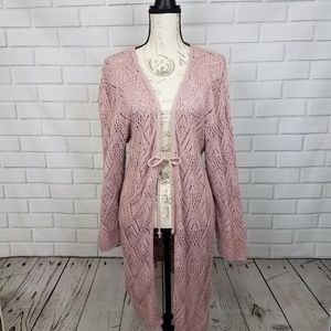 Sweaters - Long pink cardigan